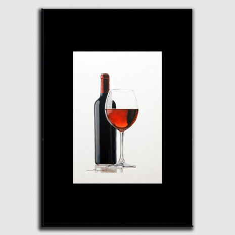 Dibujo en óleo sobre el vino
