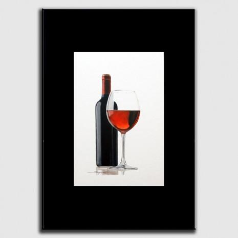 Dibuix al oli sobre el vi