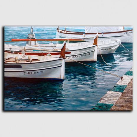 Cuadro barcas en Portlligat