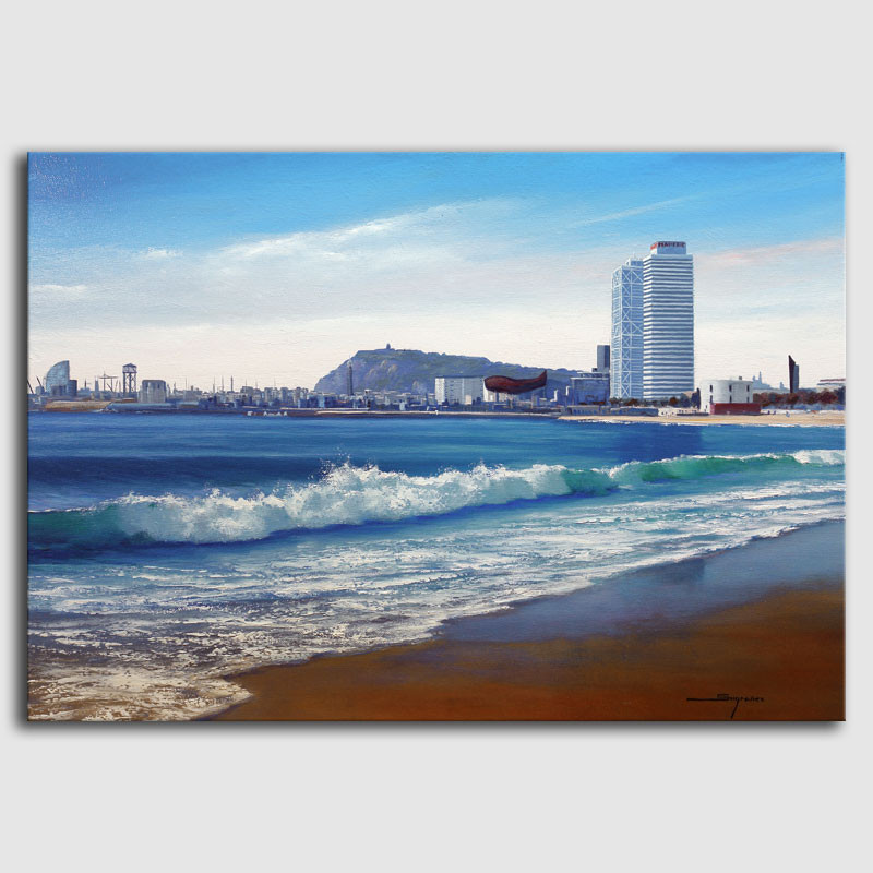 Cuadro óleo playa Barcelona